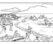 Coloriage et dessins gratuit Vacanciers sur La Plage à imprimer