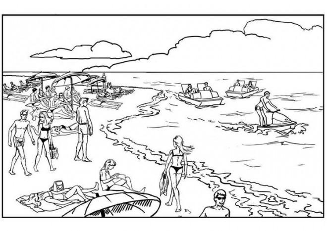 Coloriage et dessins gratuits Vacanciers sur La Plage à imprimer