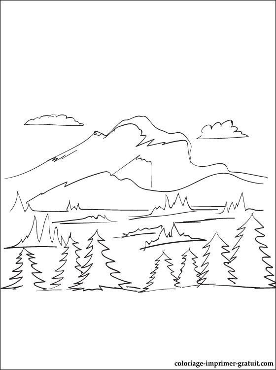 Coloriage et dessins gratuits Arbres de Montagne à imprimer