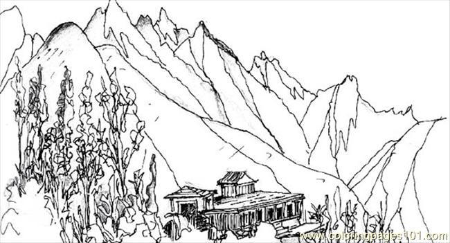 Coloriage et dessins gratuits Beau paysage de Montagne à imprimer