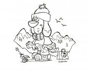 Coloriage et dessins gratuit Chien dans la Montagne à imprimer
