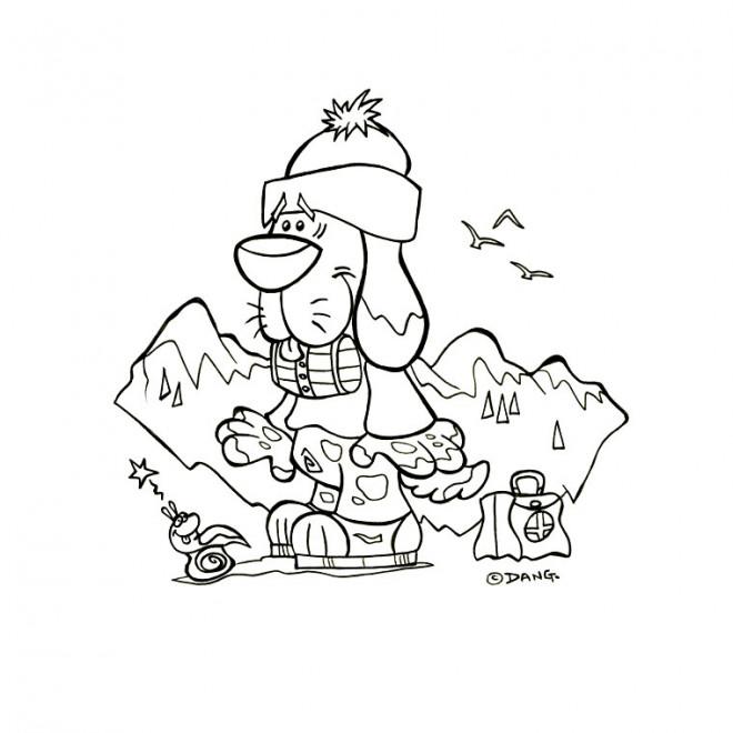 Coloriage et dessins gratuits Chien dans la Montagne à imprimer