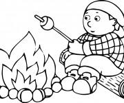Coloriage et dessins gratuit Enfant en Camping à imprimer