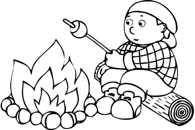 Coloriage et dessins gratuits Enfant en Camping à imprimer