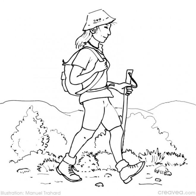 Coloriage et dessins gratuits Fille et Camping dans la Montagne à imprimer