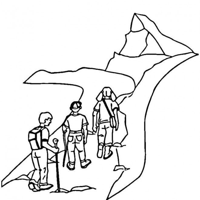 Coloriage et dessins gratuits Grimpeurs escaladent Montagne à imprimer
