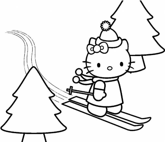 Coloriage et dessins gratuits Hello Kitty en ski alpin à imprimer