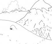 Coloriage et dessins gratuit Montagne en Hiver à imprimer
