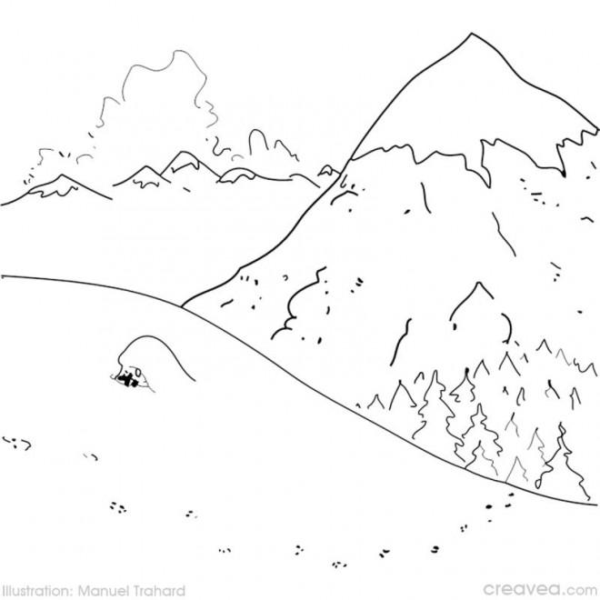 Coloriage et dessins gratuits Montagne en Hiver à imprimer