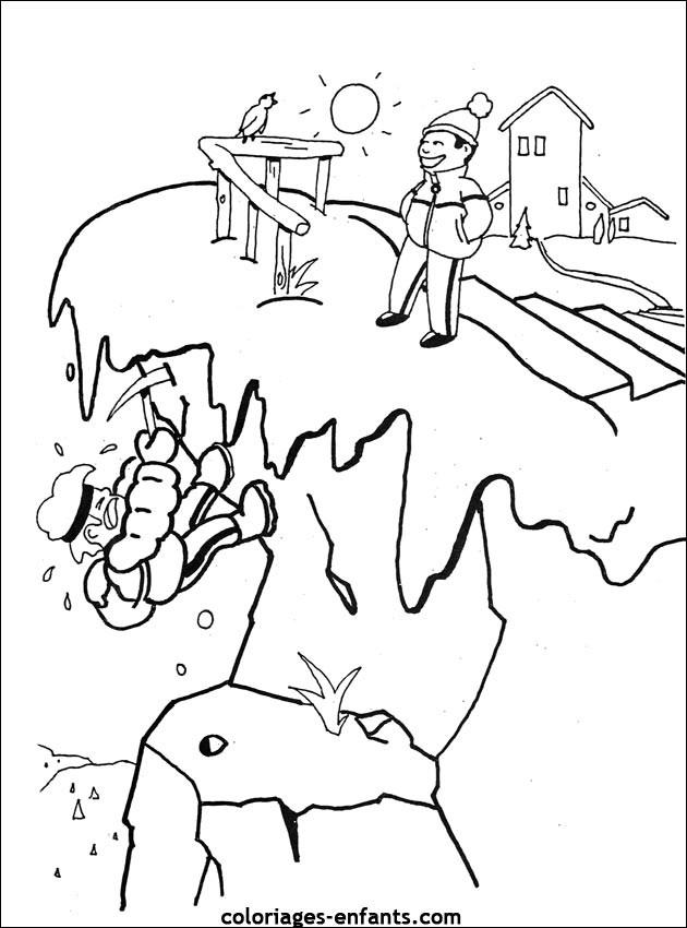 Coloriage et dessins gratuits Montagne en neige à imprimer