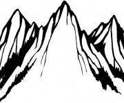 Coloriage et dessins gratuit Montagne en noir à imprimer