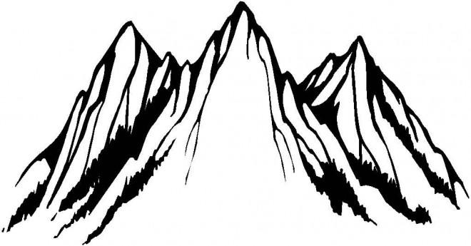 Coloriage et dessins gratuits Montagne en noir à imprimer