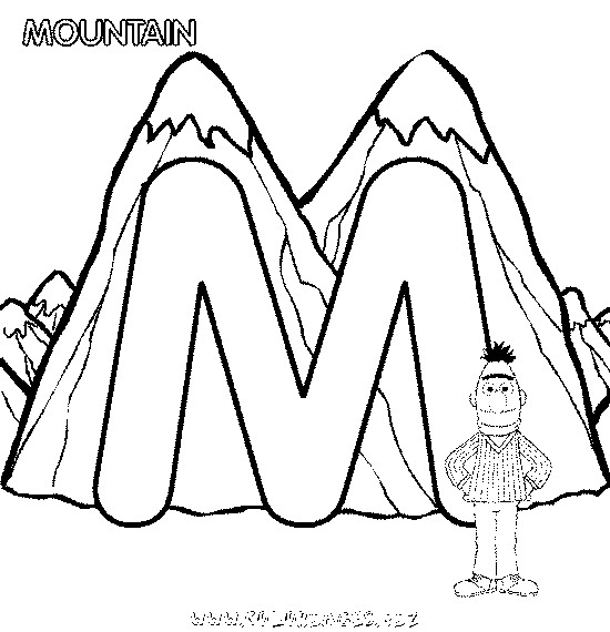 Coloriage et dessins gratuits Montagne et la lettre M à imprimer