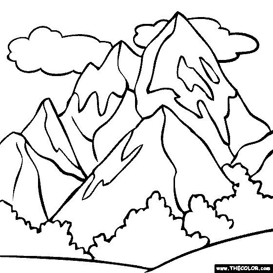 Coloriage et dessins gratuits Montagne et nuages à imprimer