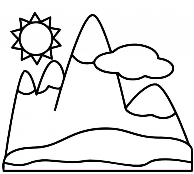 Coloriage Montagne Facile Dessin Gratuit A Imprimer