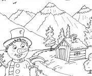 Coloriage et dessins gratuit Montagne printemps à imprimer