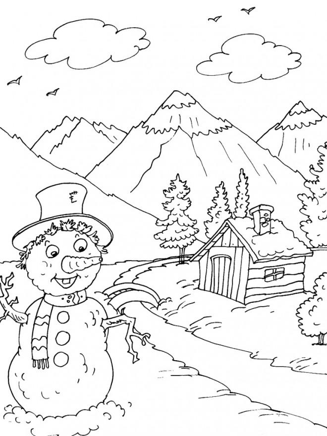 Coloriage et dessins gratuits Montagne printemps à imprimer