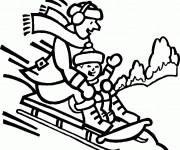 Coloriage et dessins gratuit Montagne Ski sur Luge à imprimer