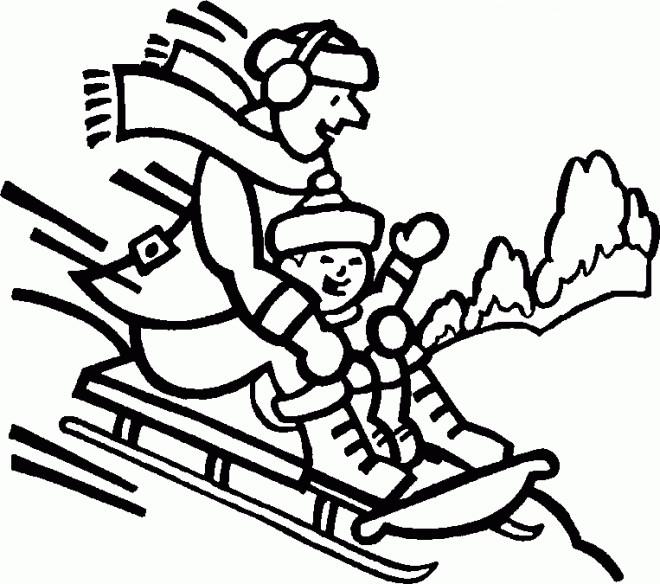 Coloriage et dessins gratuits Montagne Ski sur Luge à imprimer
