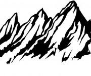 Coloriage et dessins gratuit Montagne vecteur à imprimer