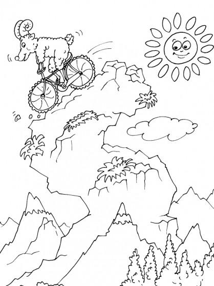Coloriage et dessins gratuits Mouflon sur bicyclette à imprimer