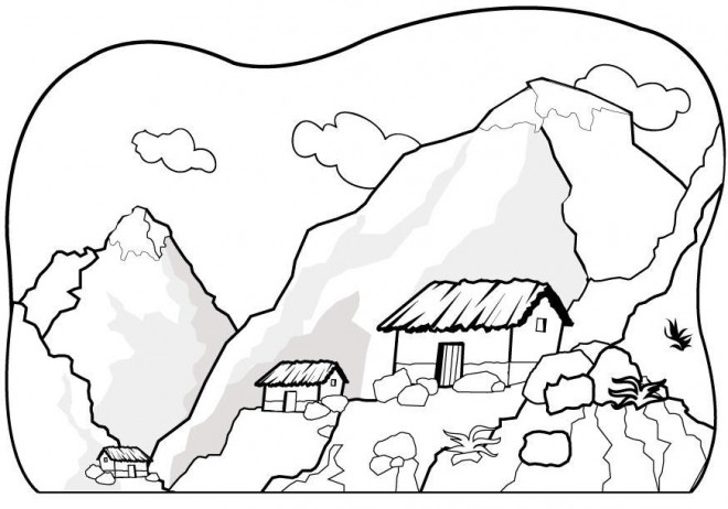 Coloriage et dessins gratuits Paysage de Montagne à compléter à imprimer