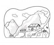 Coloriage et dessins gratuit Paysage de Montagne à découper à imprimer