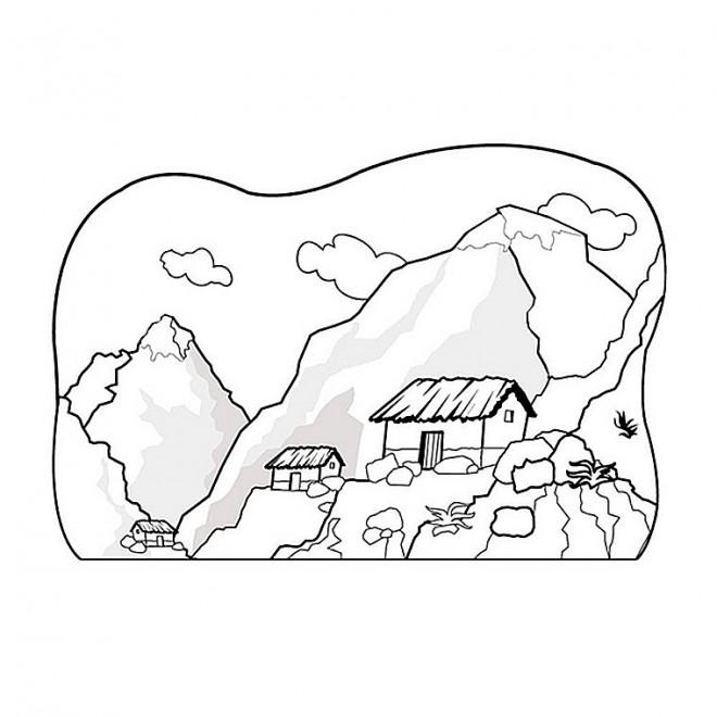 Coloriage et dessins gratuits Paysage de Montagne à découper à imprimer