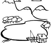 Coloriage et dessins gratuit Paysage de Montagne et rivière à imprimer