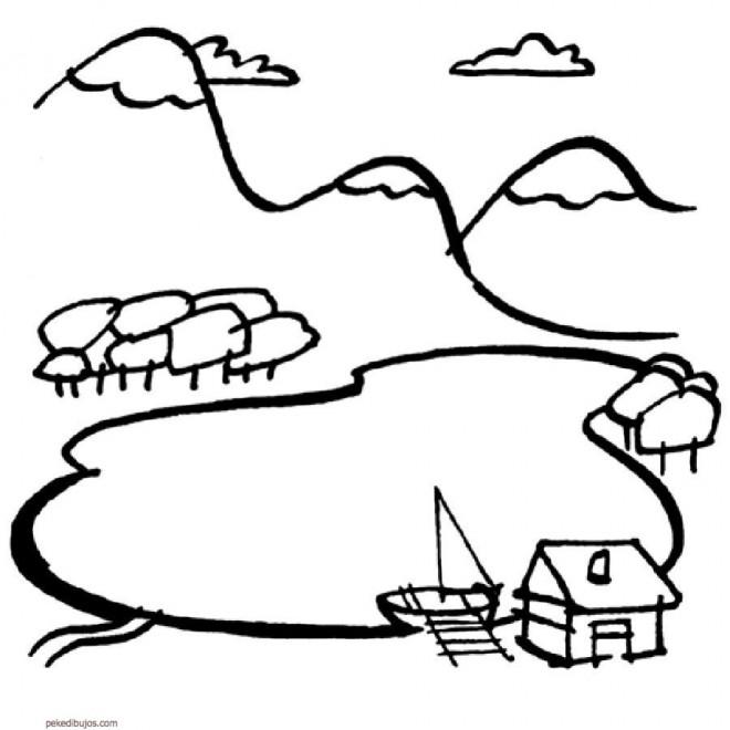 Coloriage et dessins gratuits Paysage de Montagne et rivière à imprimer