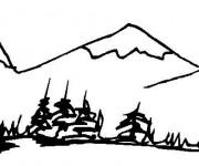 Coloriage et dessins gratuit Paysage de Montagne facile à imprimer