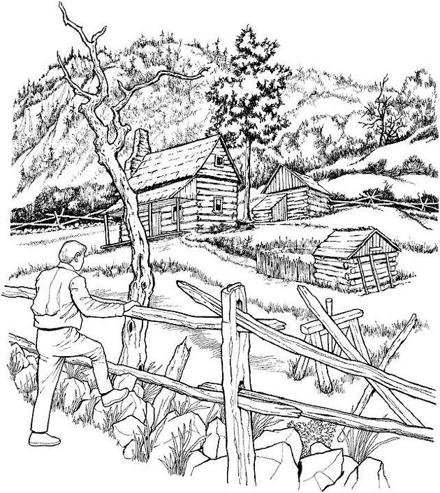Coloriage et dessins gratuits Paysage de montagne réaliste à imprimer