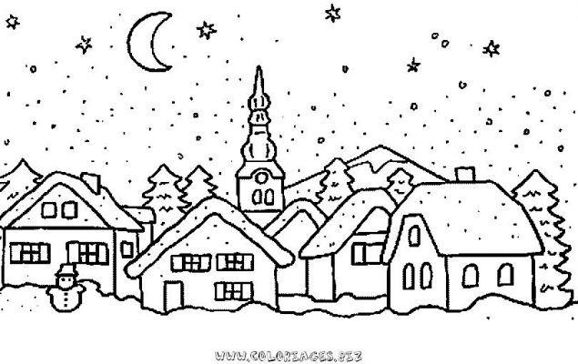 Coloriage paysage de village dessin gratuit imprimer - Coloriage village de noel ...