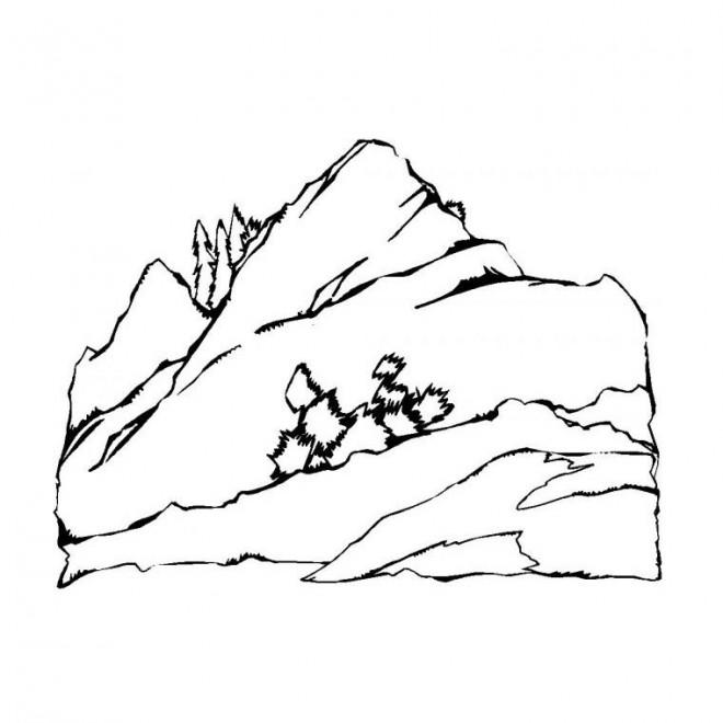 Coloriage Paysage Montagne dessin gratuit à imprimer