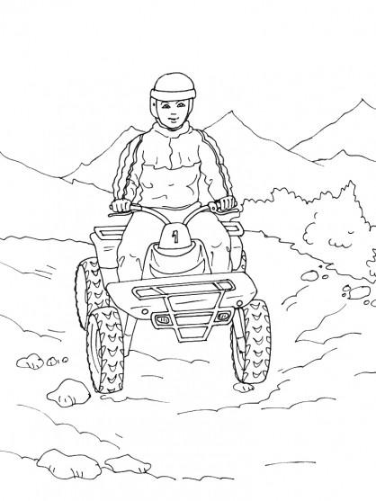 Coloriage et dessins gratuits Quad dans la Montagne à imprimer