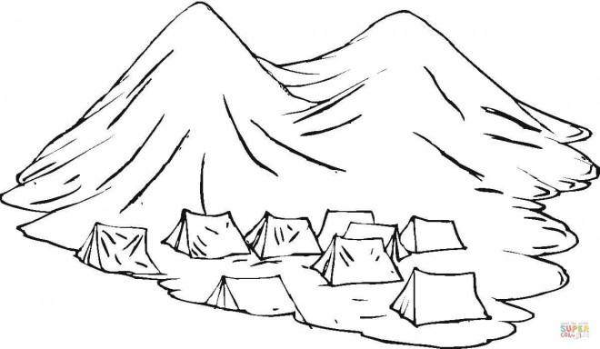 Coloriage et dessins gratuits Tentes dans la Montagne à imprimer
