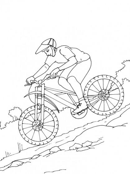 Coloriage un cycliste dans la montagne dessin gratuit imprimer - Dessin velo vtt ...