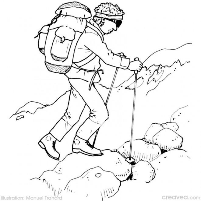 Coloriage et dessins gratuits Un Grimpeur sur la montagne à imprimer