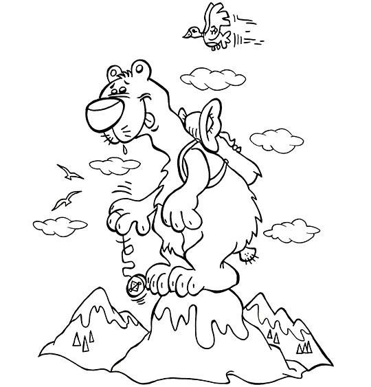 Coloriage et dessins gratuits Un gros Ours sur Montagne à imprimer
