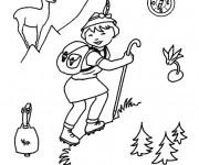 Coloriage et dessins gratuit Un petit garçon dans la Montagne à imprimer