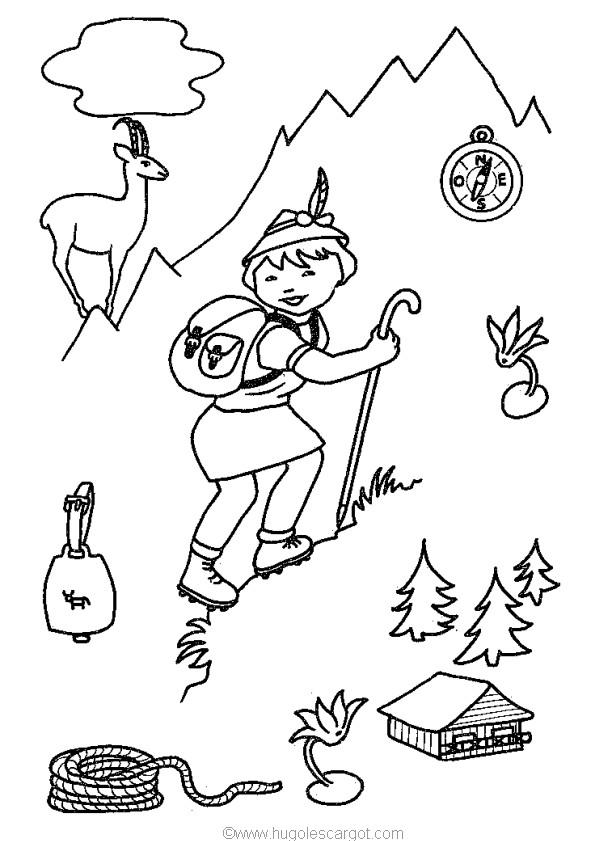 Coloriage et dessins gratuits Un petit garçon dans la Montagne à imprimer