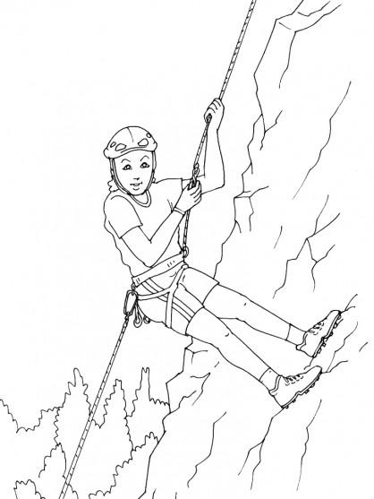 Coloriage et dessins gratuits Une fille s'amuse dans la Montagne à imprimer