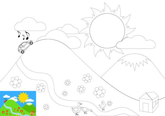 Coloriage et dessins gratuits Voiture sur Montagne à imprimer
