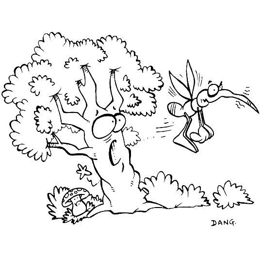 Coloriage et dessins gratuits Moustique et Arbre à imprimer