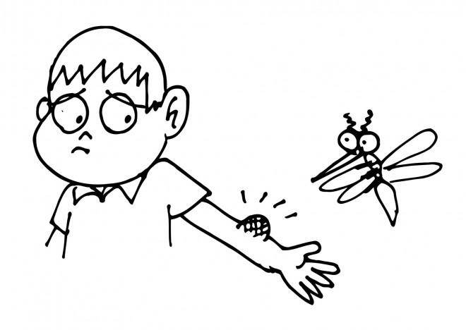Coloriage et dessins gratuits Moustique et l'enfant malheureux à imprimer