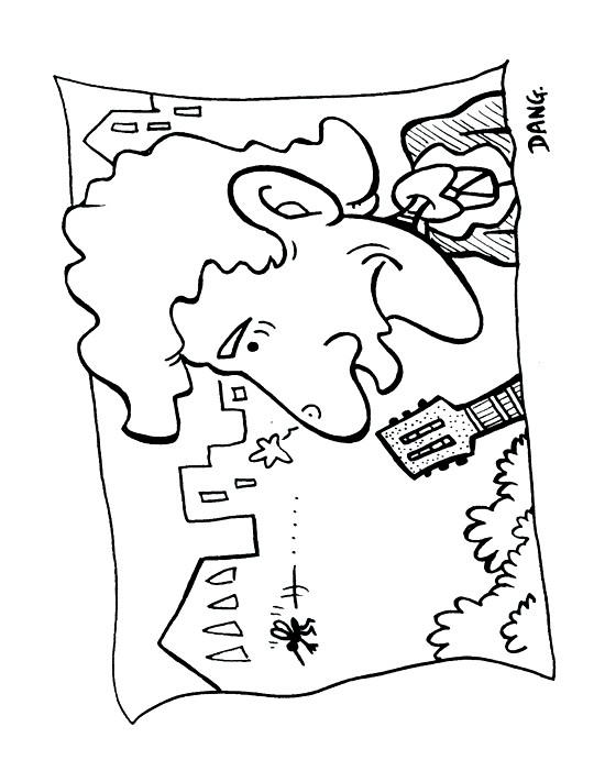 Coloriage et dessins gratuits Moustique et le guitariste à imprimer
