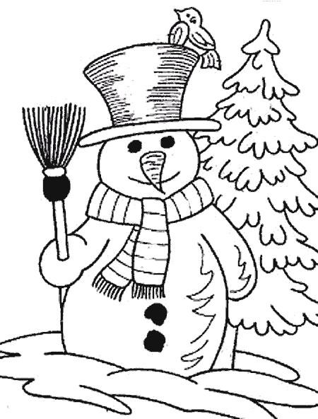 Coloriage et dessins gratuits Bonhomme de Neige dans le jardin à imprimer