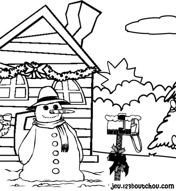Coloriage et dessins gratuits Bonhomme de Neige devant la maison à imprimer
