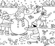 Coloriage et dessins gratuit Bonhomme de Neige et les enfants à imprimer