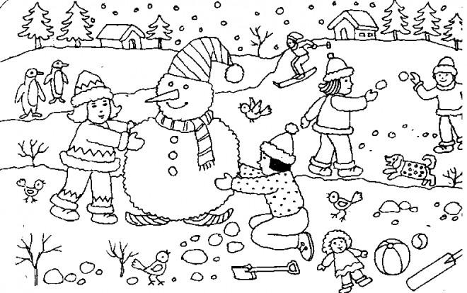 Coloriage et dessins gratuits Bonhomme de Neige et les enfants à imprimer